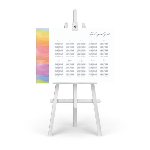 Watercolour Rainbow Table Plan