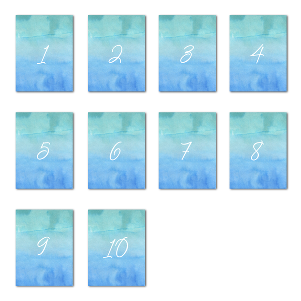 Watercolour Sea Table Numbers