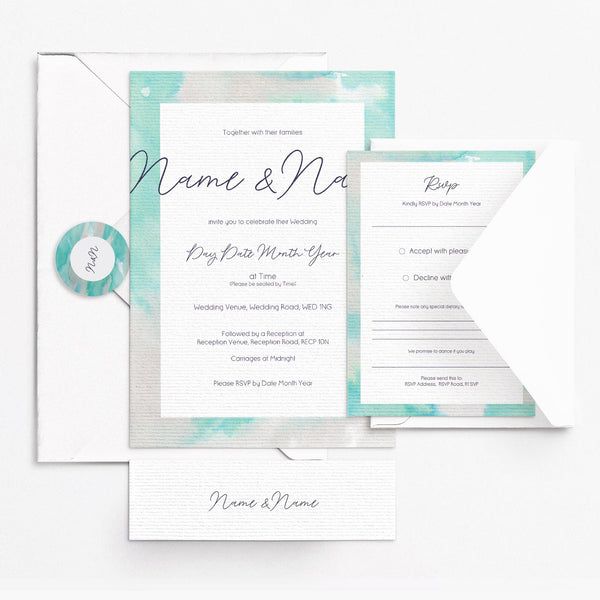 Watercolour Silver Invitation Set