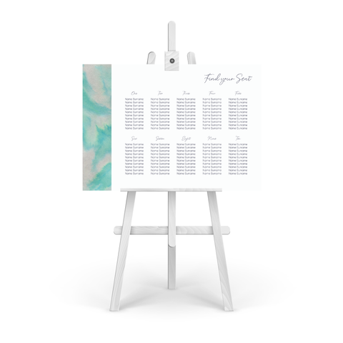 Watercolour Silver Table Plan