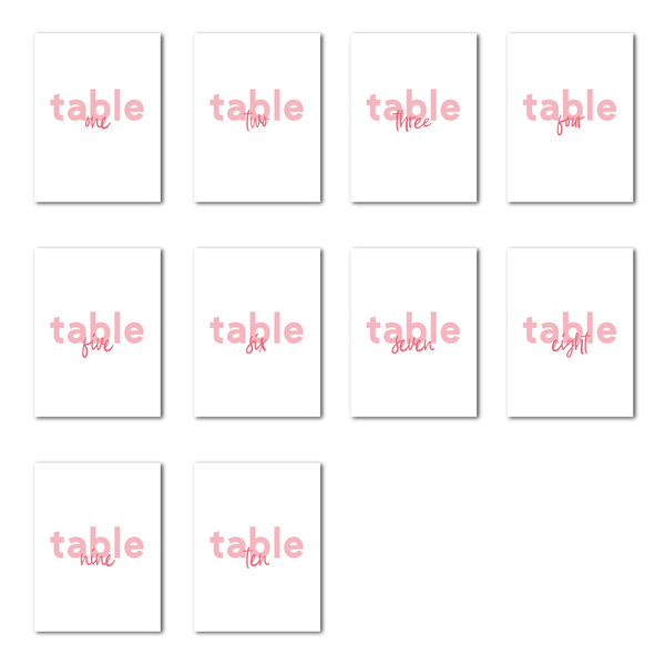 We Do Pink Table Numbers