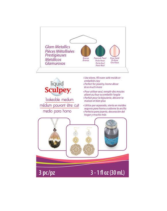 Liquid Sculpey Bakeable Medium – Glam Metallics  # ALSGLM1