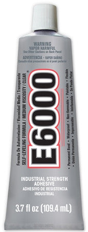 E6000® Glue, CLEAR, Medium Viscosity, 3.7 ounce tube
