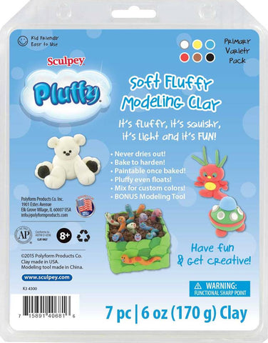Sculpey Pluffy Soft Fluffy Modeling Clay, Primary Variety Pack  K3 4300