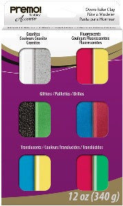 Polymer Clay Premo Sculpey Accents Mixed Effect Sampler Pack 12 Colour 340g