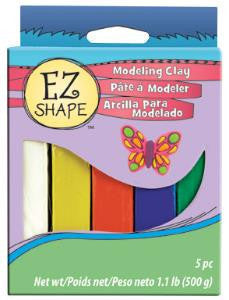 EZ Shape Non Dry Modeling Clay, Primary Colors, 5 pc
