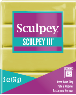 Sculpey III Polymer Clay, Glow in the Dark, 2 oz bar.  S302 1113