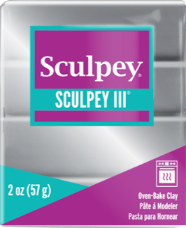 Sculpey III Polymer Clay, Silver, 2 oz bar.   S302 1130