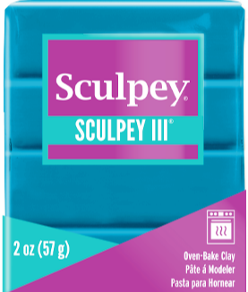 Sculpey III Polymer Clay Teal 2 oz bar S302 1139