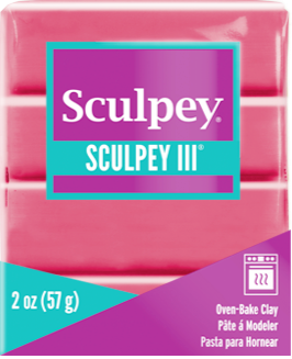 Sculpey III Polymer Clay, Candy Pink, 2 oz bar. S302  1142