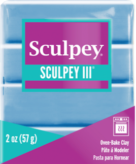 Sculpey III Polymer Clay, Sky Blue, 2 oz bar.   S302 1144