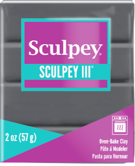 Sculpey III Polymer Clay,  Elephant Gray, 2 oz bar.  S302 1645