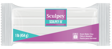 Sculpey III, White, 1 pound bar S31 001