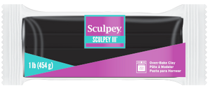 Sculpey III, Black, 1 pound bar S31 042