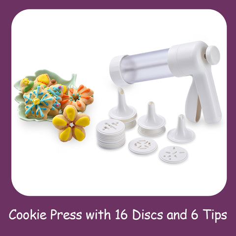 Cookie Press with 16 Discs and 6 Tips
