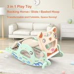 Rocking Horse, Slide, Basketball Hoop 3 IN 1 Play Toy