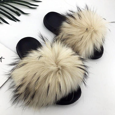 100% Fox Fur Slides - 12 / 6 - women's Shoes