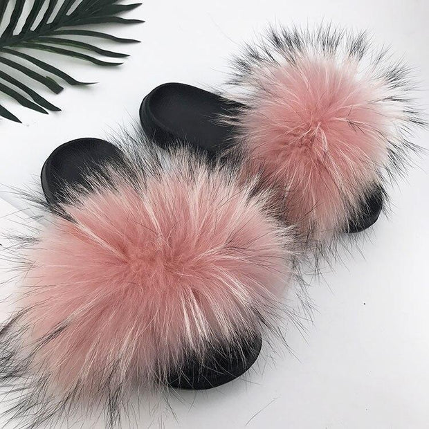 100% Fox Fur Slides - 13 / 6 - women's Shoes