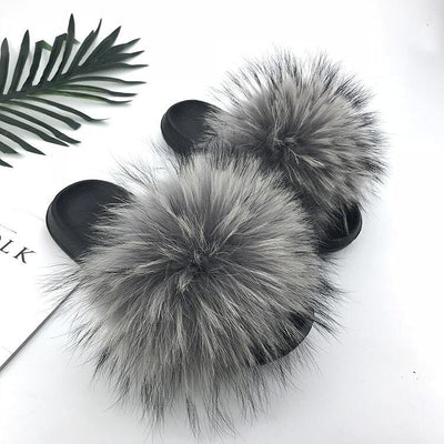 100% Fox Fur Slides - 14 / 6 - women's Shoes