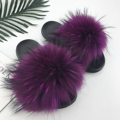 100% Fox Fur Slides - 17 / 6 - women's Shoes