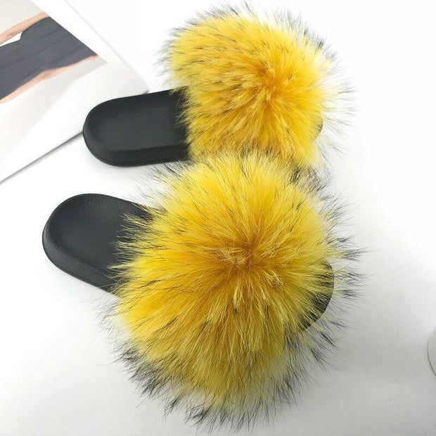 100% Fox Fur Slides - 25 / 6 - women's Shoes