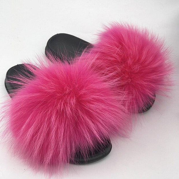 100% Fox Fur Slides - 8 / 6 - women's Shoes