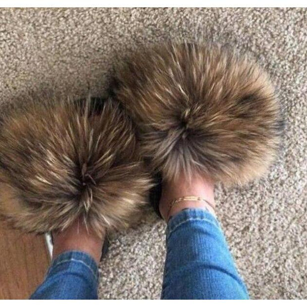 100% Raccoon Fur Slides - 11 / 6 - women's Shoes