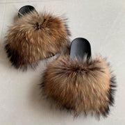 100% Raccoon Fur Slides - women's Shoes