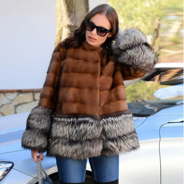 THONE - Genuine Mink Fur with Fox Fur Trim