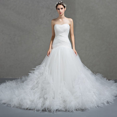 BEXLEY - Crisscross Pleat, Ruffles Wedding Dress
