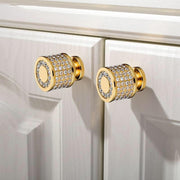 24K Gold Plated Crystal Knobs - door knobs