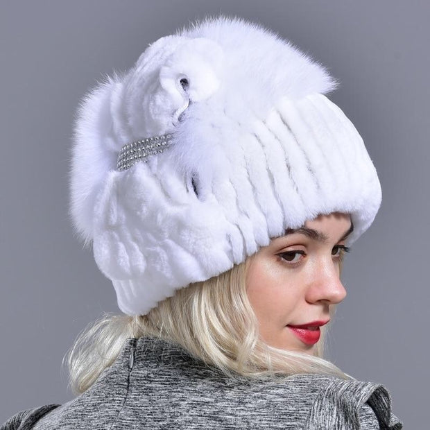 WIKOE - Genuine Rabbit Fur Hat with Crystal Embellishment