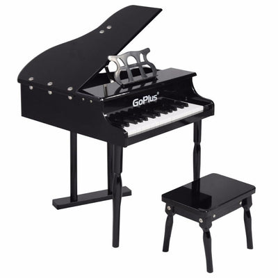 30 Key Grand Baby Piano with Wooden Bench - Black - Toy