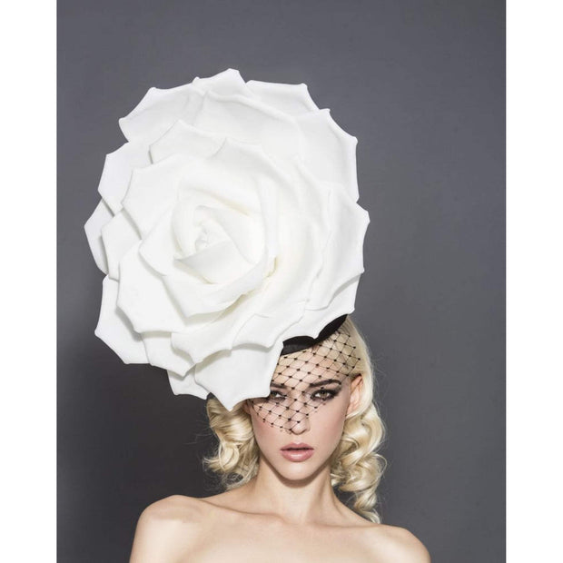 Le Mans - White Rose Hat with Black Base