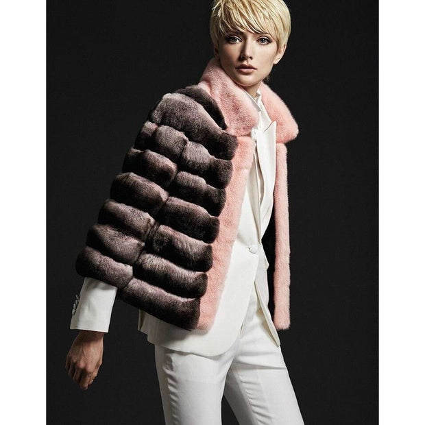 Kendall -Pink Genuine Empress Chinchilla Fur Coat