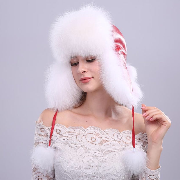 Red and White Genuine Fox Fur Trapper Hat