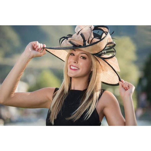 BORDEAUX: Black and Peach Sinamay Straw Hat