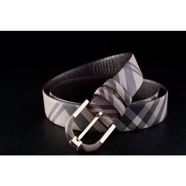 Men's Striped Genuine Leather Belt