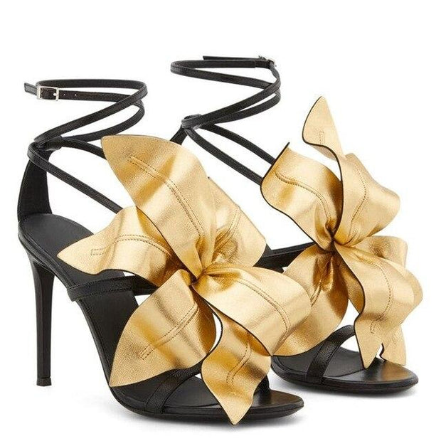 CHARITY - Leather Flower Embellished High Heel Sandals