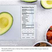 Nourish Digital Kitchen Scale, Food Scale with (New Backlit) Portions Nutritional Facts Display