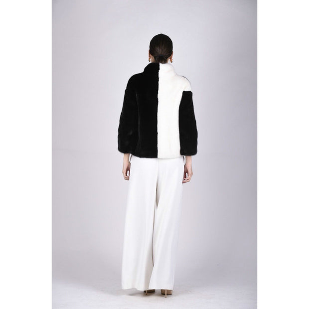 Esmeralda - Black and White Mink Fur Coat