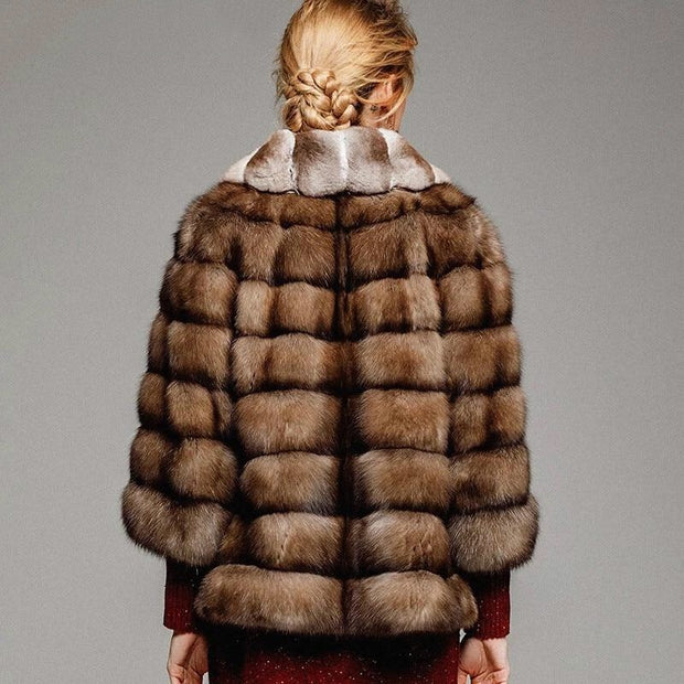 Ivanka - Sable Fur Coat with Tuxedo Chinchilla Fur Collar