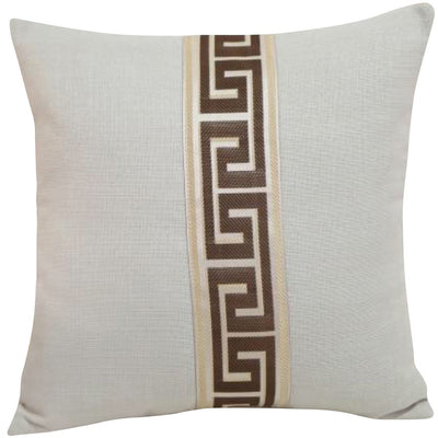 Greek Key Design White Pillow Cover