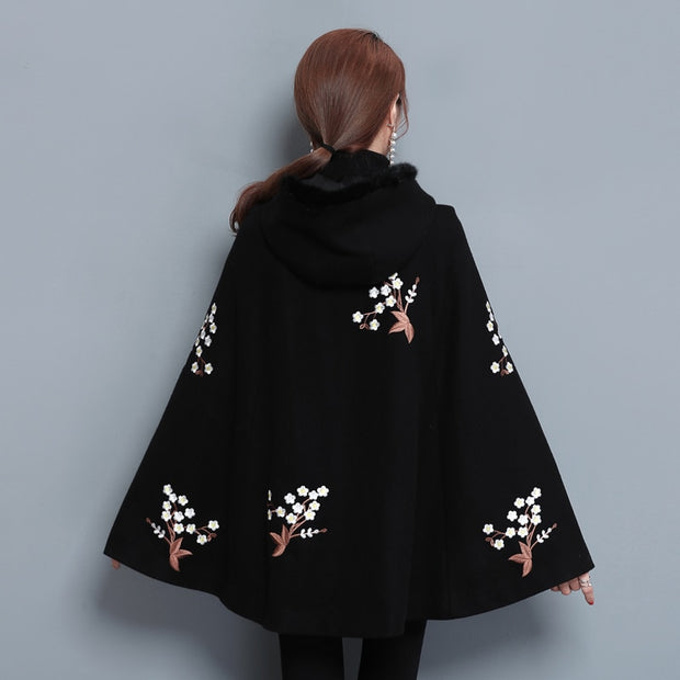 Black Embroidered Poncho - THE BENJAMIN ORGANIZATION