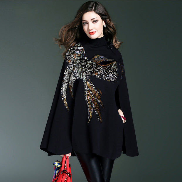 Knitted Cashmere with Handmade Beading and Sequins Cape - THE BENJAMIN ORGANIZATION