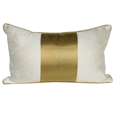 White and Gold Lumbar Pillow Cover