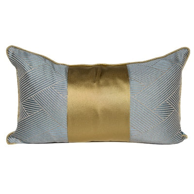Grayish Blue and Gold Lumbar Pillow Cover