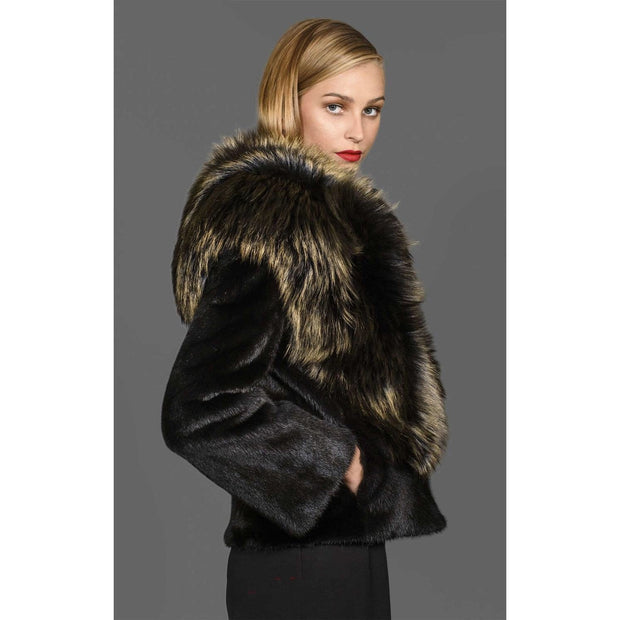 Majesta - Mink Fur Coat with Dyed Fox Fur Collar