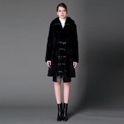 Paislee - Rabbit Fur Coat with Fox Fur Collar, Black