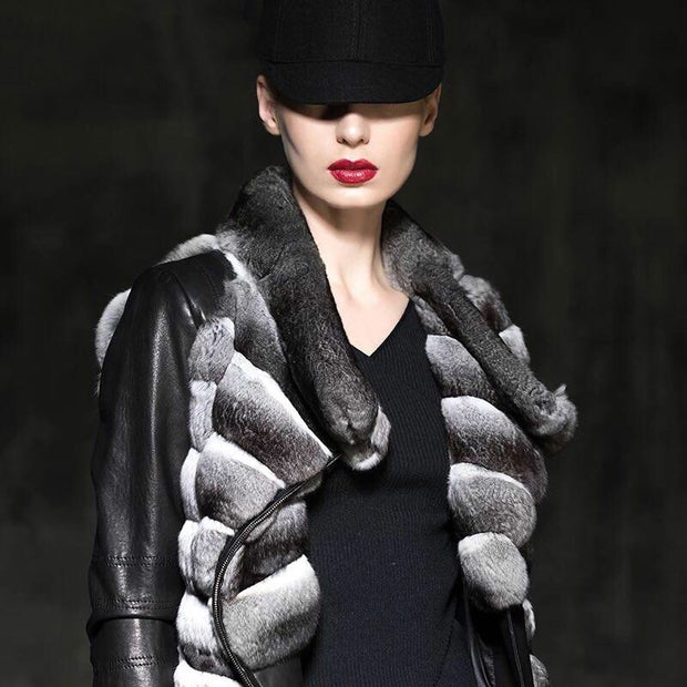 Charleigh - Chinchilla Fur Coat with Genuine Leather Sleeves